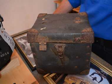 Box among relics found from a once top-secret American base at the Charleville airfield in western Queensland in 1942. Photo Rae Wilson / Newsdesk
