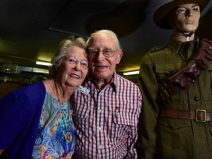 BIG HEART: Every Friday for the past 10 years, 94-year-old Wally Gibbons has visited four nursing homes on the Sunshine Coast spending time with 3300 ex-service men and women. He is pictured here with his wife Freda.