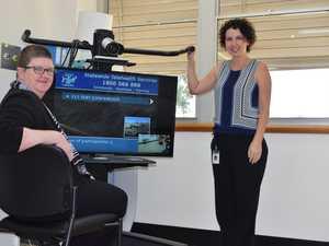 Director of Nursing Joy Pitman and Telehealth nurse Rebecca Barnes welcome the technology to Biloela hospital. Photo Emma Clarke / Central Telegraph
