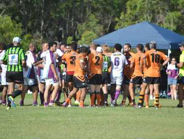 TOUGH GAME: Burnett Heads and Avondale players get into some push and shove at the end of their game in the Northern Districts Rugby League at South Kolan. Photo: Facebook