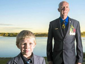 FAMILY PRIDE: Jim Lloyd, who served with the Royal Australian Navy, with nephew Brock Eveleigh.