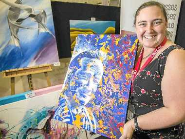 COLOURFUL: Kristel Kelly at the Gladstone Observer's Home and Leisure Expo.