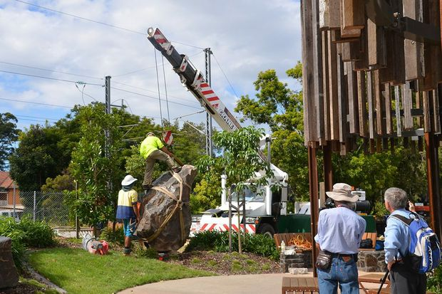 STONE ART: The final pieces of a major art project in Beerwah's town centre were installed by crane.