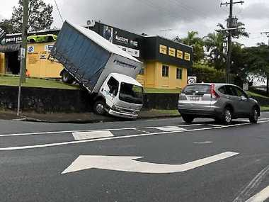 WRONG WAY: An unusual scene in Blackall St, Woombye yesterday morning.
