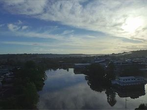 Footage of Lismore with the Wilsons River in flood captured by Aussie Drone Services.
