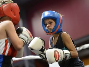 Dean Dunbar at the PCYC Rockhampton boxing club tournament on Saturday night. Photo: Chris Ison / The Morning Bulletin