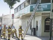 SMOKE-damaged walls and police tape around the Post Office Hotel are the only outward signs of a fire that ripped through the cellar yesterday morning.