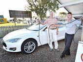 BELGIAN-BORN Bribie Island resident Marc Talloen loves his Tesla electric car.