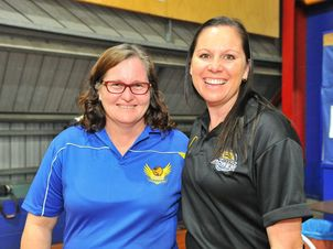Kerrie Moore and Angie Wilmot at the Kev Broome stadium.