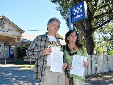 LEGAL MATTER: Jim Beetson and Maggi Luke outside Byron Bay police station on the way to lodging their statutory declarations over the shoe-throwing incident at Byron Shire Council's Thursday meeting.