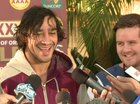 QUEENSLAND  five-eighth Johnathan Thurston could not help but smile about one of the 15 tackles he made during last night's gripping 11-10 State of Origin win.