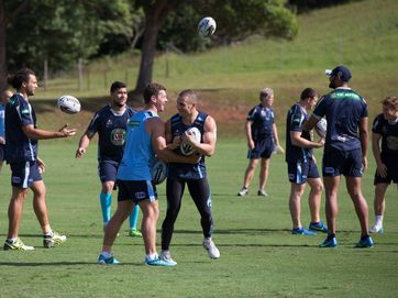 Blues have an opposed session at the Elite Training Centre.