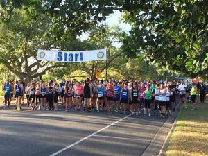 Runners get set for the start of the 10km event in the Rocky River Run.