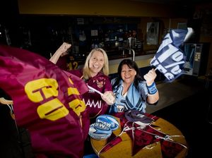 LJ Hooker Boyne Island/Tannum secretary Lyn Farrow and principal/auctioneer Vicki Brown will be on opposite sides of the fence for the first Origin game tonight.