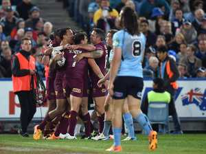 William Chambers (left) of the Maroons celebrates after scoring a try during State of Origin Game I between the NSW Blues and Queensland Maroons, at ANZ Stadium, Sydney, Wednesday, May 27, 2015.