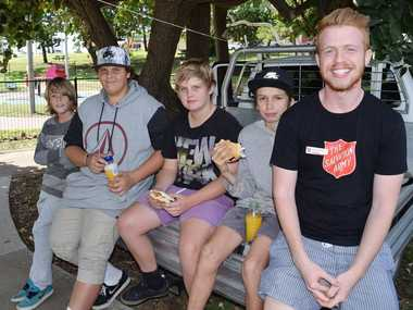 Yeppoon Salvation Army Mission Leader Daniel Walters with local youth Jayden Stokes, Brandon Wiltshire, Jake Brook and Jackson Morris at Yeppoon's Skate Park where Daniel regularly holds BBQs for the skaters. Photo Amy Haydock / The Morning Bulletin