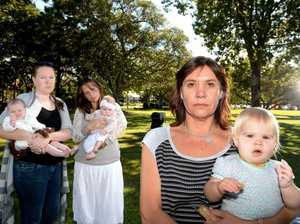Unhappy mums- Alison Heffernan with bub Ruby,Saindi Brown with bub Arlia and Rachel Bryant with bub Grace. Photo: Blainey Woodham / Tweed Daily News