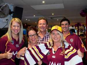 Erin Tompkins, Katie Castles, Cameron Castles, Amelia Peele and Jason Schefe get their colours on to support Queensland at the Commonwealth Hotel.