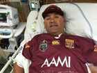 A BRIBIE Island footballer injured in a match last month is still in hospital.