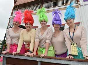 PubFest - Maryborough Trolls - (L) Christine Sprake, Raechel Young and Barbara, Rosemary and Debra Wells brighten up the streets. Photo: Alistair Brightman / Fraser Coast Chronicle