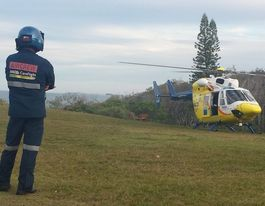 Chopper winches injured Coast rock climber to safety