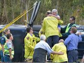 <strong>UPDATE:</strong> Retiree Grahame Thomas' journey home with friend Joyce Fragale took a foul turn when his four-wheel-drive tipped from a Sunshine Motorway exit ramp.