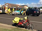 THREE ambulance crews are giving emergency treatment to a postman who was hit by a car at Bargara this morning.