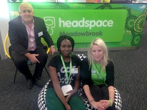 Headspace has opened in Meadowbrooke to help young people struggling with mental health issues. Pictured is Deputy CEO Ivan Frkovic with staff Lauren Smith and Honoree.