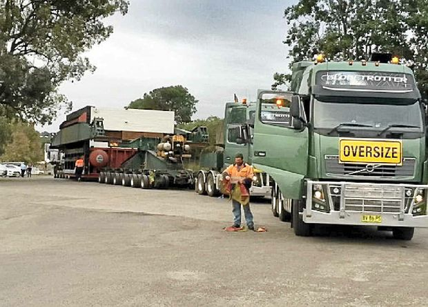 WIDE LOAD: The boiler shell on its way to the meatworks in Casino.