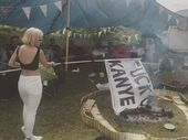 LILY Allen has posted pictures and video of her burning a flag meant for rapper Kanye West at Glastonbury on Instagram.