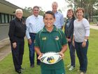 Isaiah Armstrong-Ravula will head to Rockhampton as part of the Met West Rugby League side thanks to the support from the community. Pictured is Isaiah with Old Fernvale Bakery owner Bill Rose, Somerset Regional Council mayor Graeme Lehmann, councillor Bob Whalley, Fernvale Indoor Sports Centre's Lynne Howard and Kerry Derviter from the Fernvale State School P & C. Photo Tom Threadingham / Gatton Star