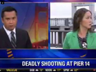TWO TV news crews in America were robbed and attacked live on air while they were reporting from the scene of a murder.