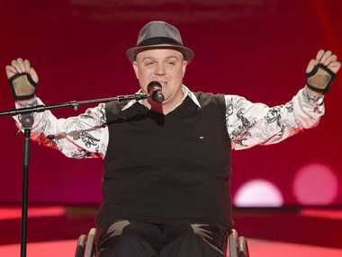 SINGING STAR: Tim McCallum on stage as part of reality TV show The Voice.