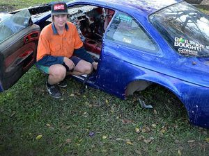 DREAM RUINED: Patrick Barnes hi-tech drift car has been stripped by thieves over the weekend.