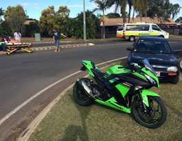 Rider taken to hospital after smash