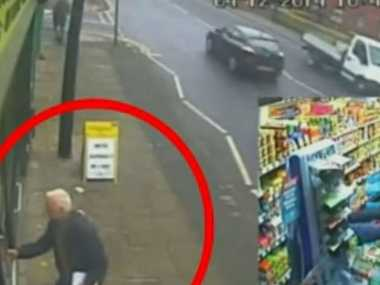 Ron Smith, 78, later joined by fellow pensioner Robert Anderson, barricaded the robber inside the shop.