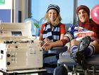 GOOD CAUSE: Josh Leisemann encourages other football players to donate blood with registered nurse Natalie Forrest.