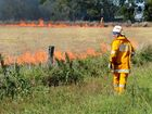 Rural fire brigade crews were called to a Lanefield property when a controlled burn got away. The fire brigade back burned and snuffed the fire out. Photo: Kate Czerny / The Queensland Times