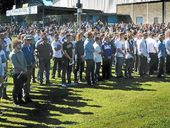 THE sun shone down bright on Frank McGuren Field as many mourners turned out to say their final goodbye to much loved Grafton teenager Clinton McGrail-Skinner.
