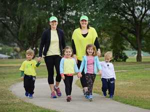 Members of the Swtichsweats' Park 2 Park team Anne-Maree Savige (left) and Karlie Bulow with children from left, Tommy Savige (2), Isabel Savige (4), Georgia Bulow (4) and Darcy Bulow (2). Photo: David Nielsen / The Queensland Times