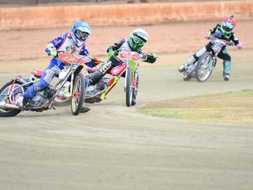 The fast paced action from the junior motorcycle speedway race in Kingaroy.