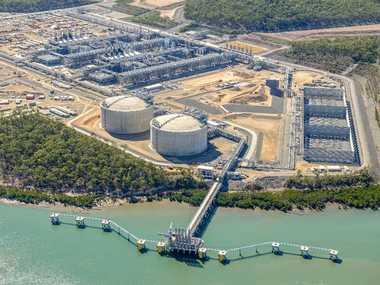 An aerial view of the APLNG site on Curtis Island, Gladstone, in July 2015.