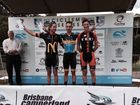 Team TLD rider Harry Sweeny on last weekend's QRTS podium after claiming third place in the opening stage road race at Gympie.