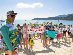 COMMUNITY BACKED: Airlie Aqua Park owner Jason Ford was buoyed by the community support at Sunday's rally. Photo Justin Heitman / JJ Pictures