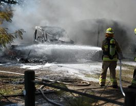 Motor home burns to the ground in Bonville