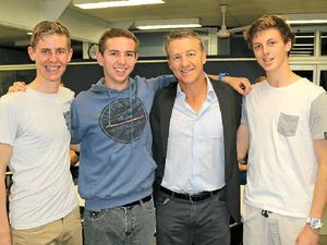 NIGHT OUT: Elijah Kugel, Lachlan Miners and Jeremy Crighton with Andy Bichel at the Lockyer District High School's Lads and Dads dinner.