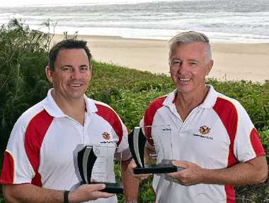 TWO RAYS OF SUNSHINE: Lifesaver of the Year Scott Summers (left) and Volunteer of the Year Warick Redwood.