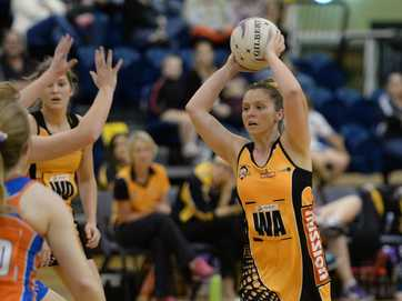 Action from the Claws netball game against the Brisbane Lions at CQ University on Saturday night.   Photos CHRIS ISON