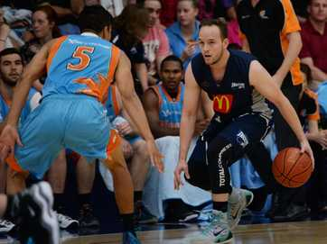 Action from the Rockets v Cairns Marlins basketball game at Hegvold Stadium on Saturday night.    Photos CHRIS ISON