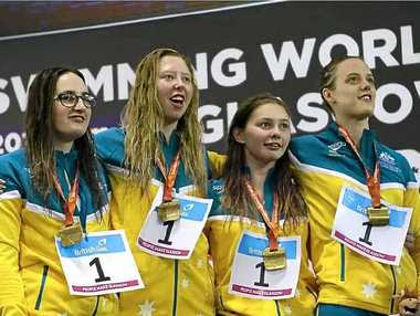 READY FOR RIO: Lucky Patterson (second from left) and her relay team won gold.
